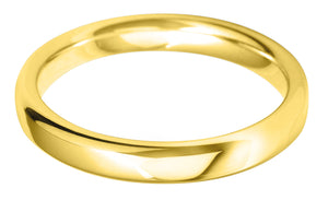 Classic medium court 3mm wedding ring with comfort fit in 18ct yellow gold Ladies £470, Gents £580