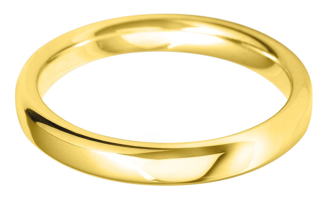 Classic court 3mm wedding ring with comfort fit in 18ct yellow gold