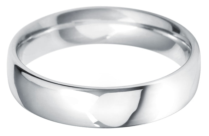 Classic court 5mm wedding ring with comfort fit in platinum