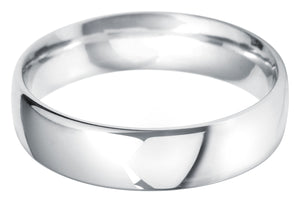Classic court 6mm wedding ring with comfort fit in platinum