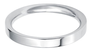 Classic Regular Flat court 2.5mm wedding ring with comfort fit.