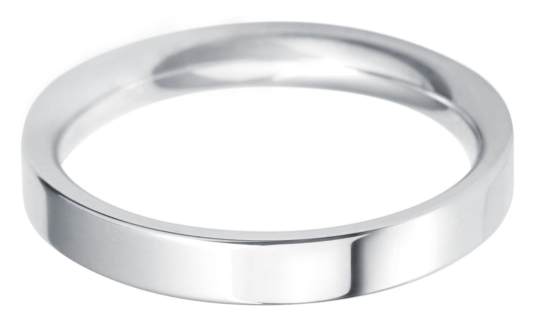 Classic Regular Flat court 3mm wedding ring with comfort fit.
