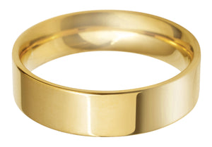 Classic Regular Flat court 6mm wedding ring with comfort fit in 18ct yellow gold.