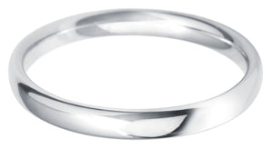 Classic light court 2.5mm wedding ring with comfort fit in platinum