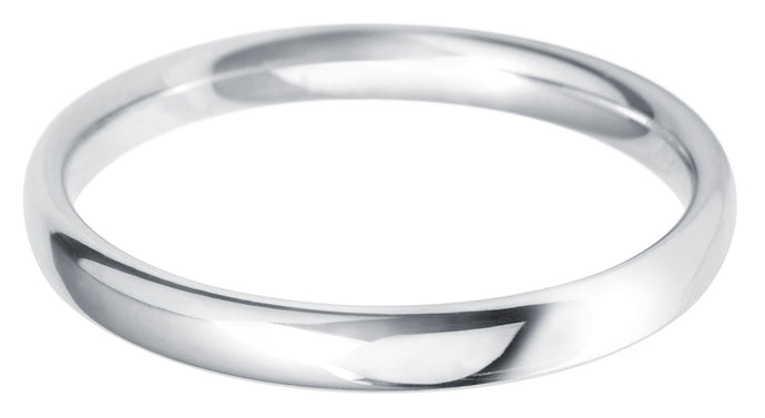 Classic light court 2.5mm wedding ring with comfort fit in platinum, Ladies £325, Gents £395