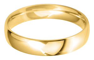 Classic light court 4mm wedding ring with comfort fit in 18ct yellow gold.