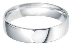 Classic light court 5mm wedding ring with comfort fit in platinum.