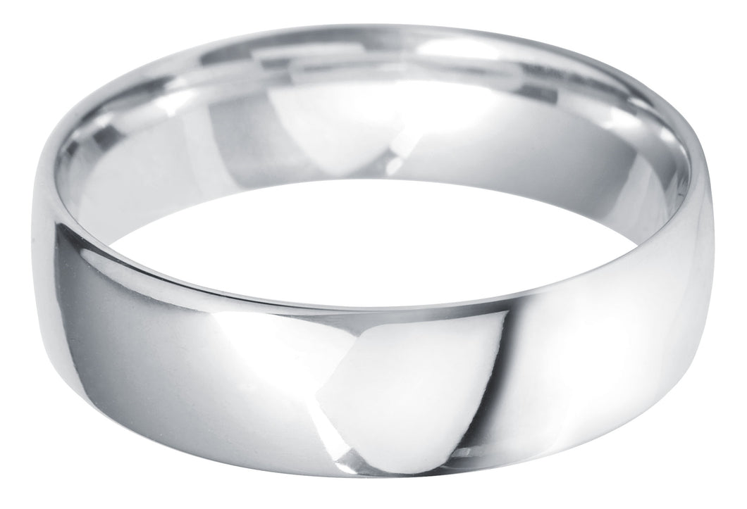 Classic light court 6mm wedding ring with comfort fit in platinum.