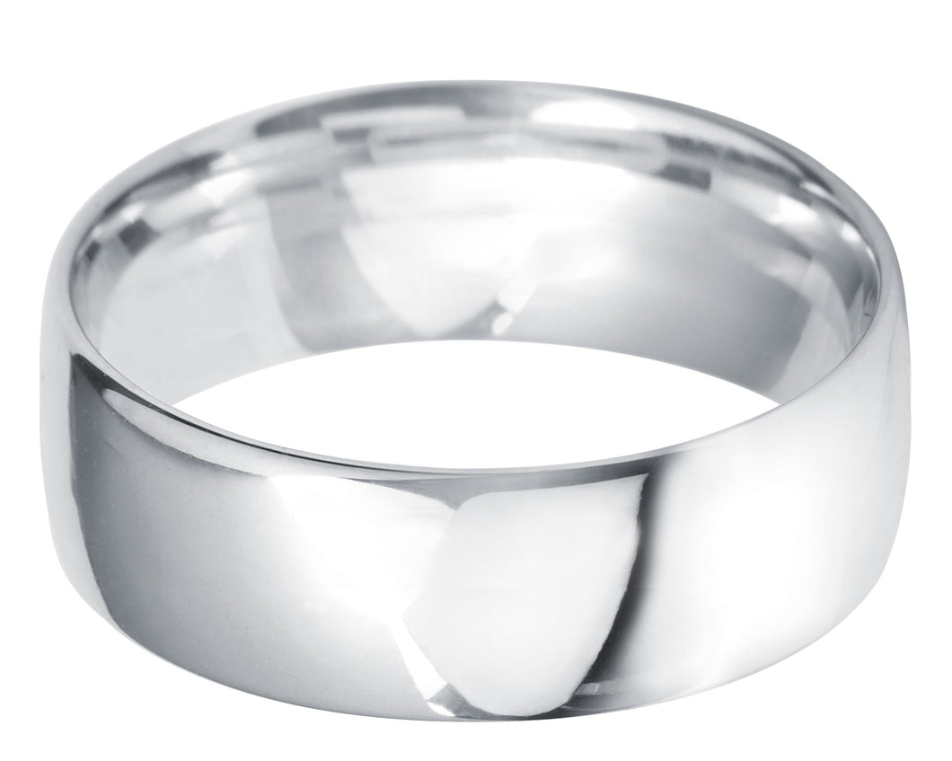 Classic light court 7mm wedding ring with comfort fit in platinum.
