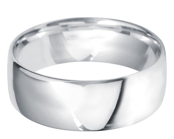 Classic light court 8mm wedding ring with comfort fit in platinum.