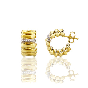 Chimento Bamboo Over 18ct Yellow Gold 0.07ct Diamond Hoop Earrings