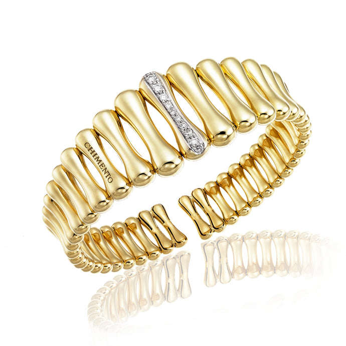 Chimento Bamboo 18ct Yellow Gold & Diamond Bangle