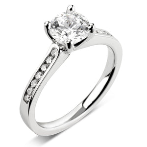 Diamond Solitaire with Diamond set shoulders in 18 white gold
