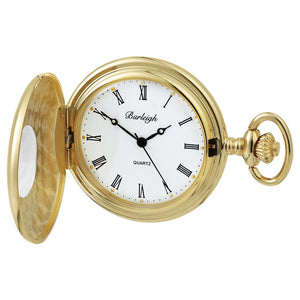 Burleigh Gold Plated Half Hunter Pocket Watch