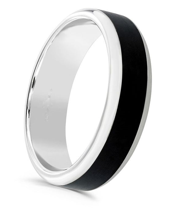 Matt black cerin centre and platinum 4mm men's wedding ring.