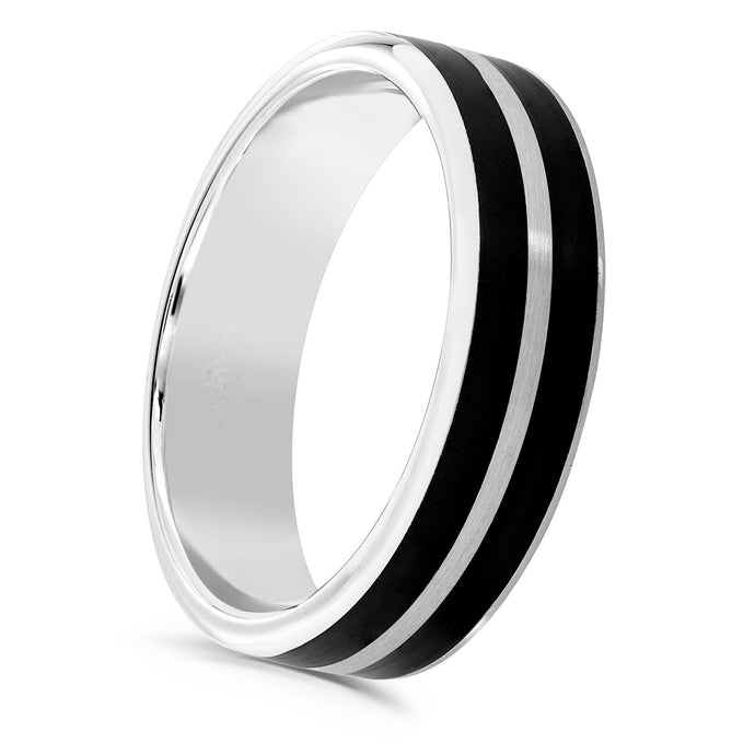 Matt black 2 row cerin and platinum flat top 4mm men's wedding ring.
