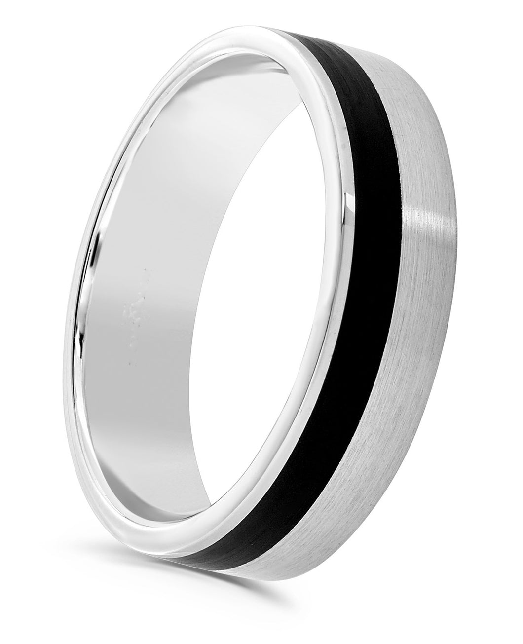 Matt black 1 row off set cerin and platinum flat top 4mm men's wedding ring.
