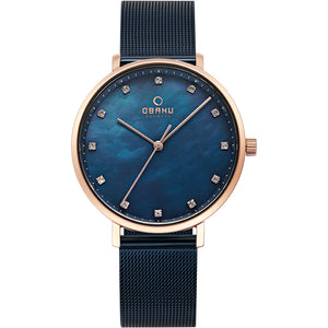 Obaku, blue mother of pearl dial with Swarovski crystals and mesh bracelet.
