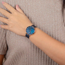 Load image into Gallery viewer, Obaku, blue mother of pearl dial with Swarovski crystals and mesh bracelet.
