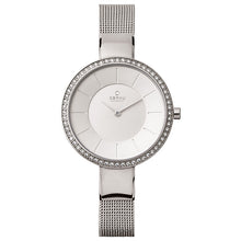 Load image into Gallery viewer, Obaku, white dial with Swarovski crystals and steel mesh bracelet.