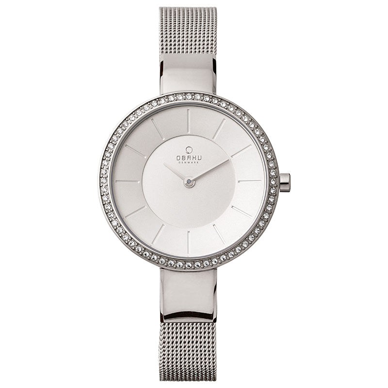 Obaku, white dial with Swarovski crystals and steel mesh bracelet.