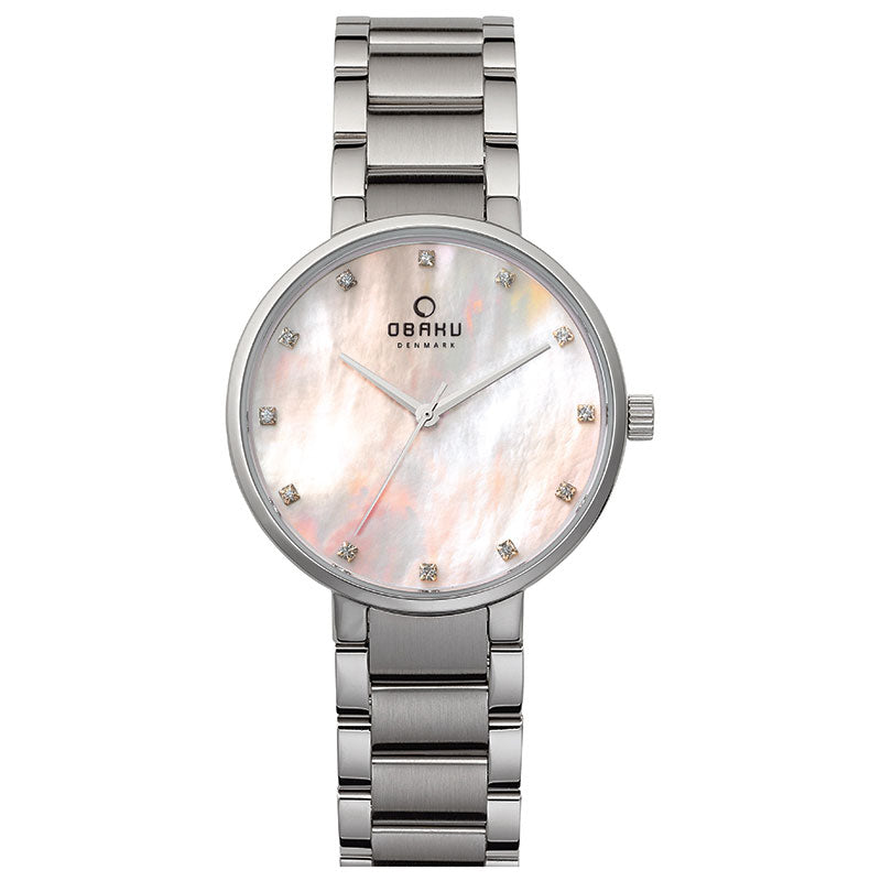 Obaku, white mother of pearl dial, steel case and link bracelet.