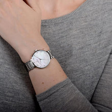 Load image into Gallery viewer, Obaku, white mother of pearl dial, steel case and link bracelet.
