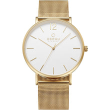 Load image into Gallery viewer, Obaku Gold Tone & Mesh Bracelet Watch