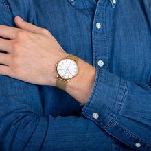 Load image into Gallery viewer, Obaku, gold tone and white dial with mesh bracelet.