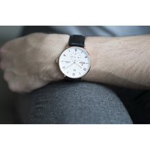 Load image into Gallery viewer, Obaku White Dial Gold Tone Case & Leather Strap Watch