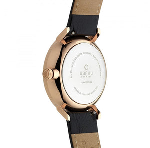Obaku White Dial Gold Tone Case & Leather Strap Watch