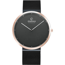 Load image into Gallery viewer, Obaku, ultra slim black on rose with mesh bracelet.