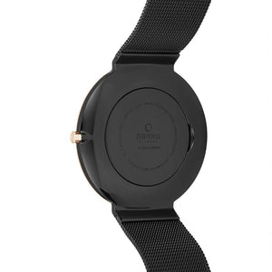 Obaku, ultra slim black on rose with mesh bracelet.