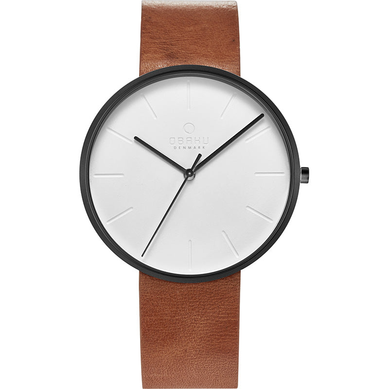 Obaku, black case, white dial and leather strap.