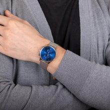 Load image into Gallery viewer, Obaku, blue dial, duel time and steel casing with mesh bracelet.
