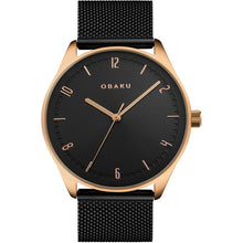 Load image into Gallery viewer, Obaku, Black and gold with mesh bracelet.