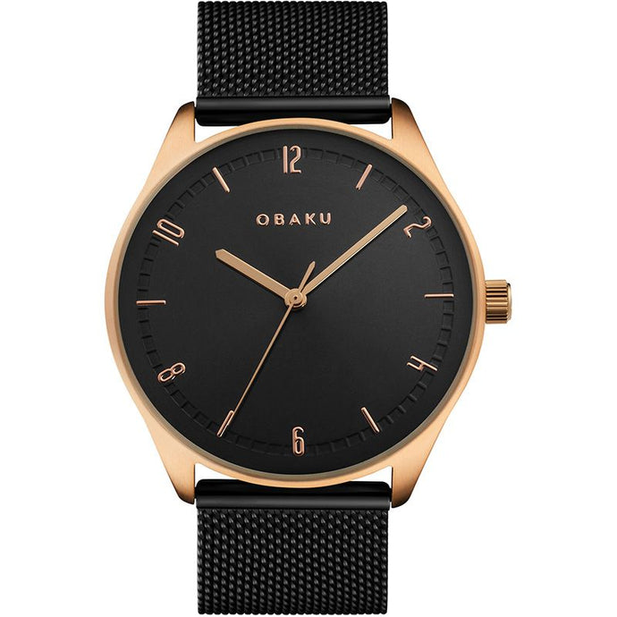 Obaku, Black and gold with mesh bracelet.