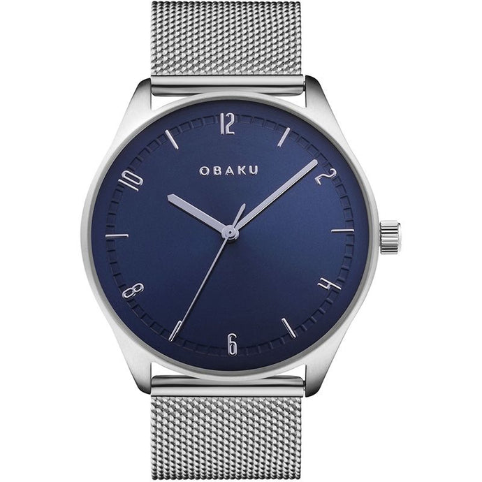 Obaku, watch, Blue dial, steel case and mesh bracelet.