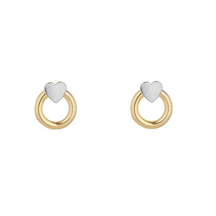 9ct Yellow gold circle and white gold heart earrings