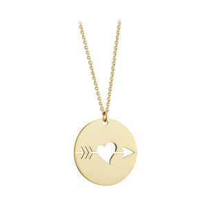 9ct Yellow Gold Heart and Arrow Disc Pendant