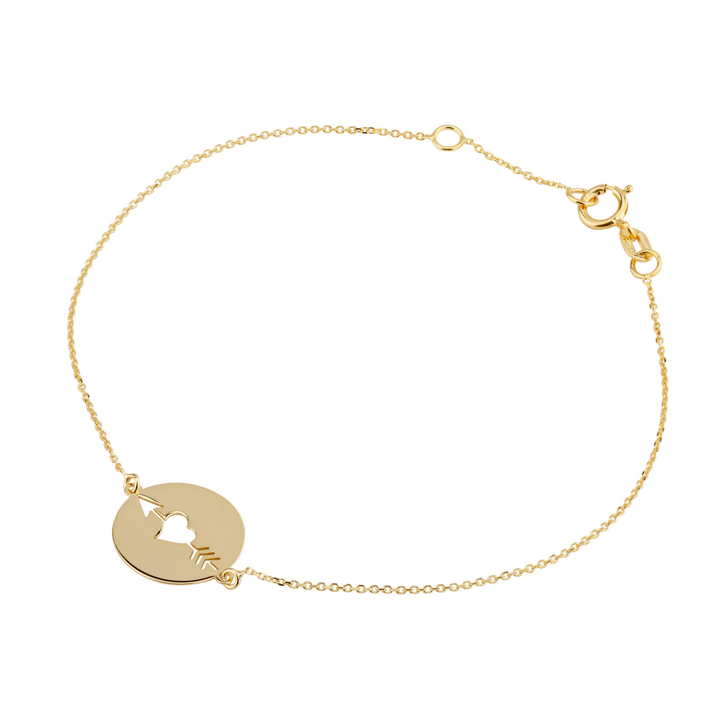 9ct Heart and Arrow Disc Bracelet