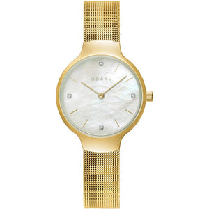Obaku VIKKE Gold tone and mesh bracelet
