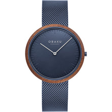 Load image into Gallery viewer, Obaku TRAE - MARINE Blue and wood Slimline watch