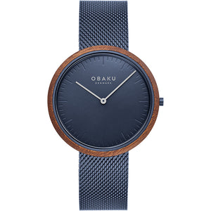 Obaku TRAE - MARINE Blue and wood Slimline watch