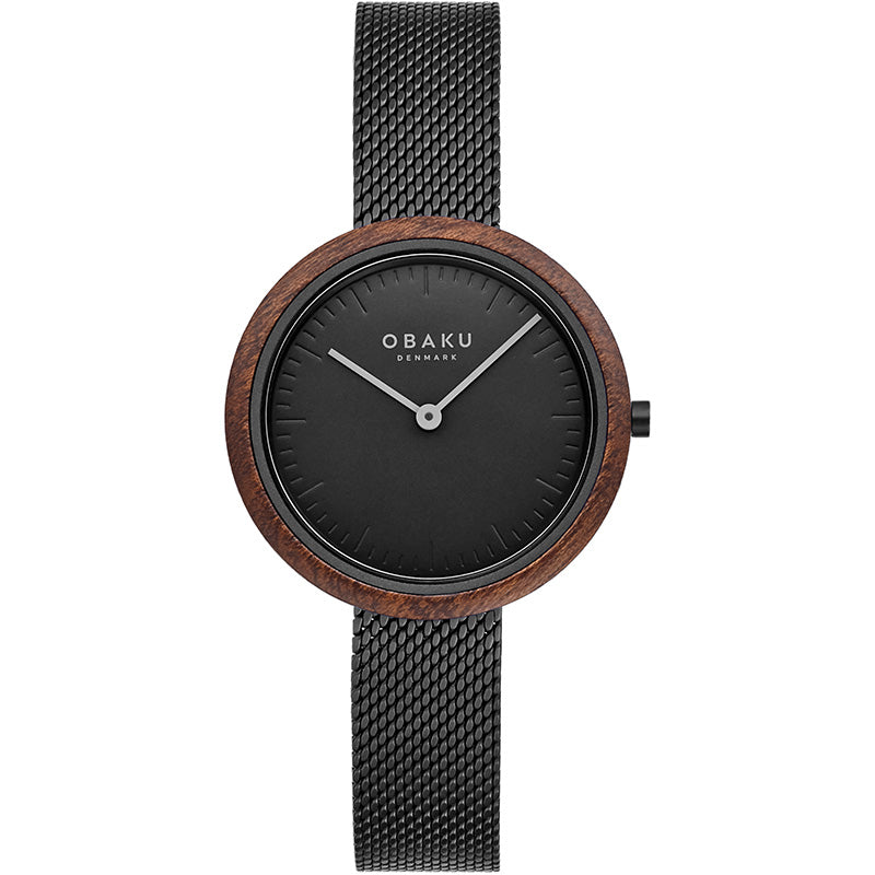 Obaku TRAE LILLE - CHARCOAL with mesh bracelet