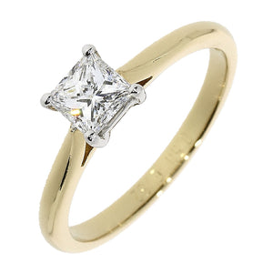 18ct Yellow Gold Princess Cut Diamond Solitaire