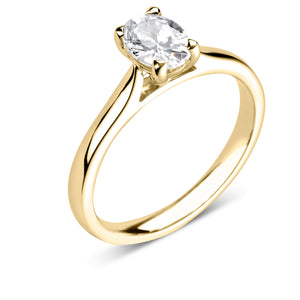 18ct Yellow Gold Oval Solitaire Plain Band 0.71ct.