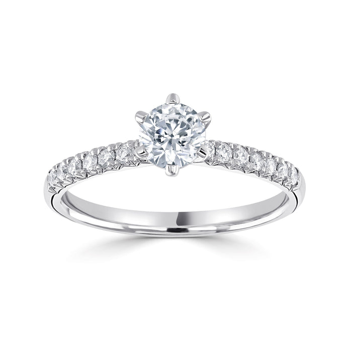 Platinum Round Brilliant Solitaire Diamond Band 1.23ct