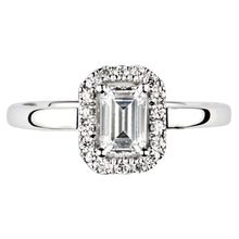 Load image into Gallery viewer, Emerald cut Diamond solitaire with Halo and Diamond set shoulders in Platinum
