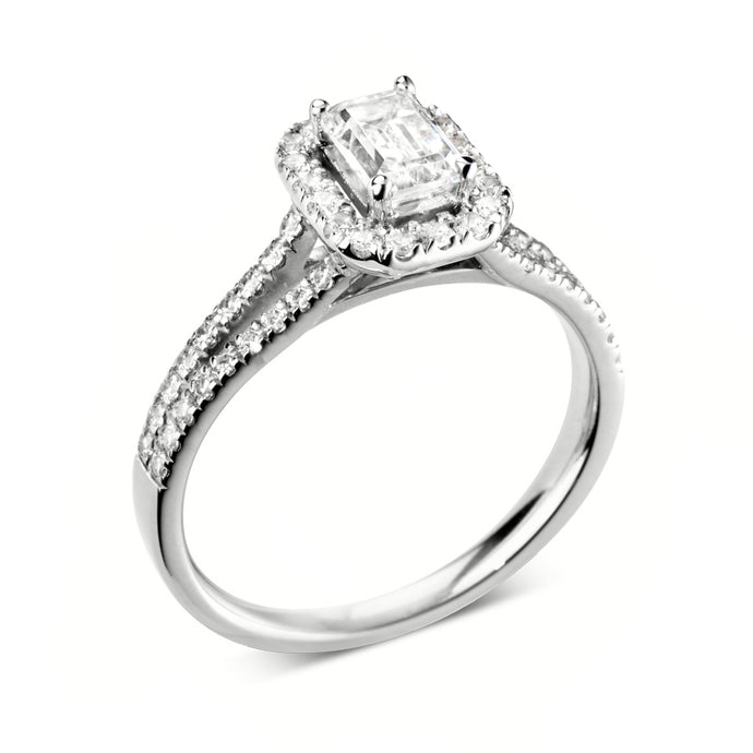 Platinum Emerald Halo Diamond Split Shoulders